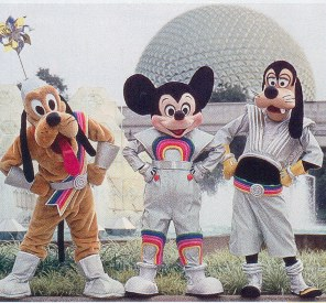 Pluto Mickey and Goofy Epcot Rainbow outfits.